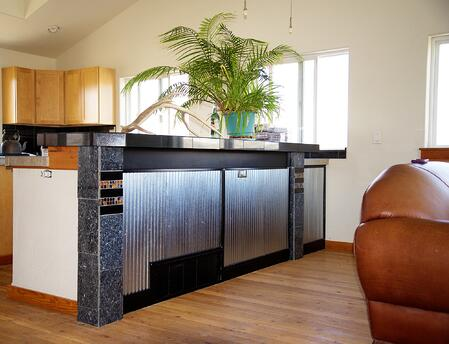 kitchen island usinf corruagted galvanized steel