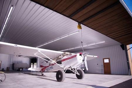 White Tuf Rib Panels brighten up this airplane hanger