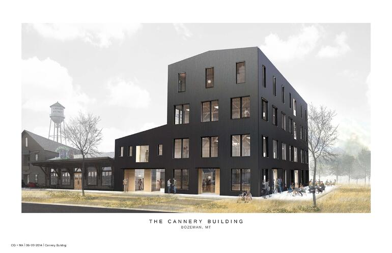 Original rendering of the new Bozeman Cannery Building with Metal siding