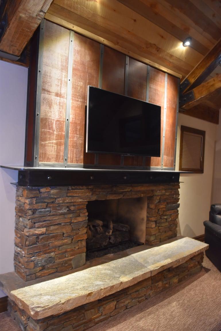 Custom rustic fireplace
