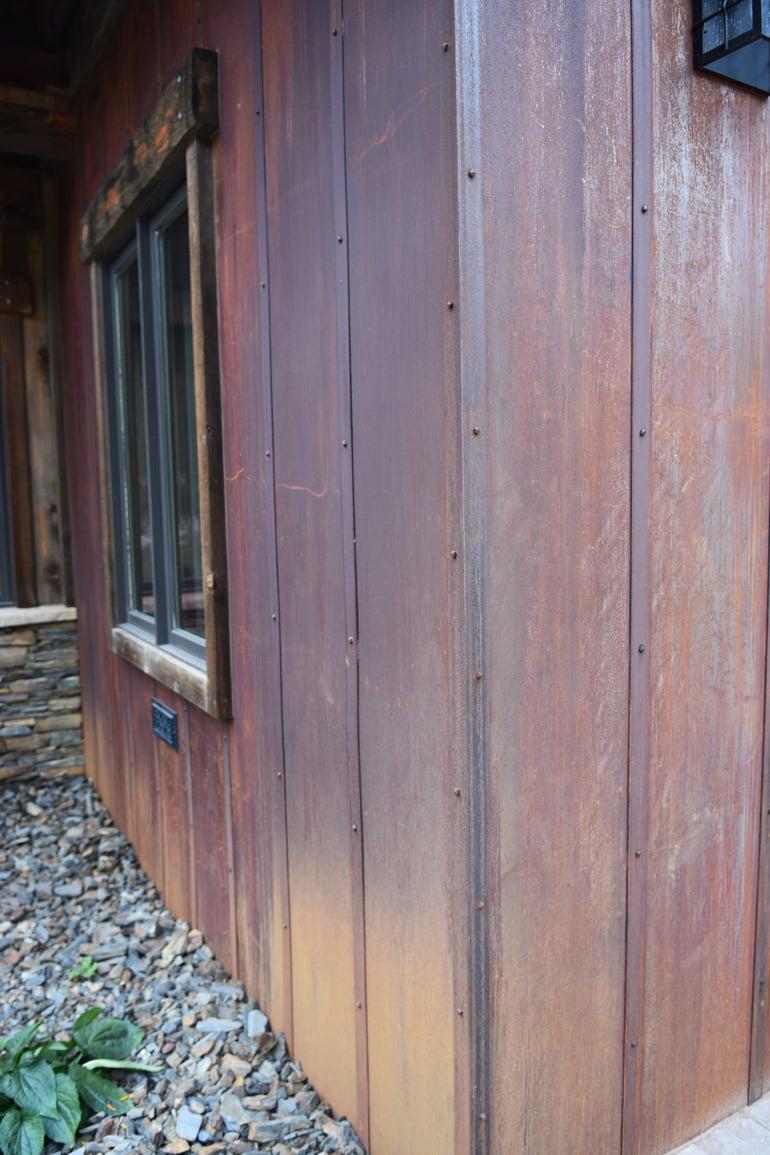 Custom rusted metal siding