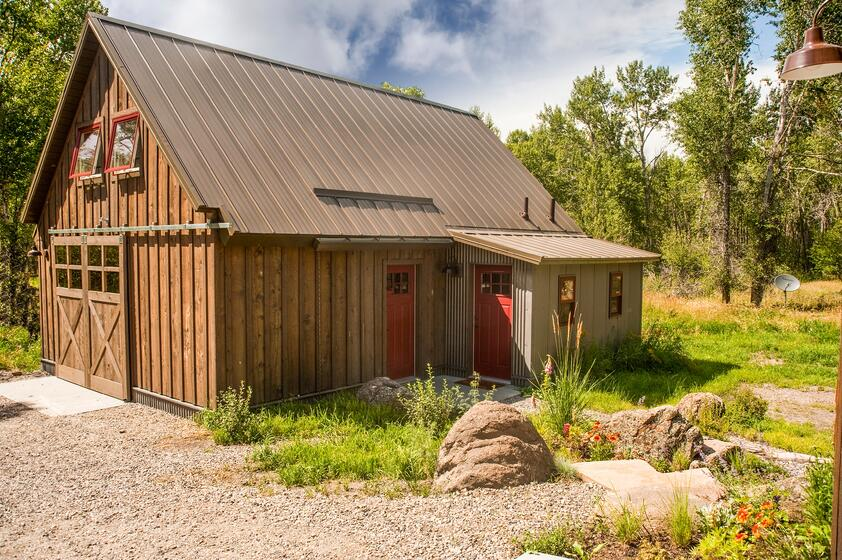 Weathered Copper Roof on Mountain Barn