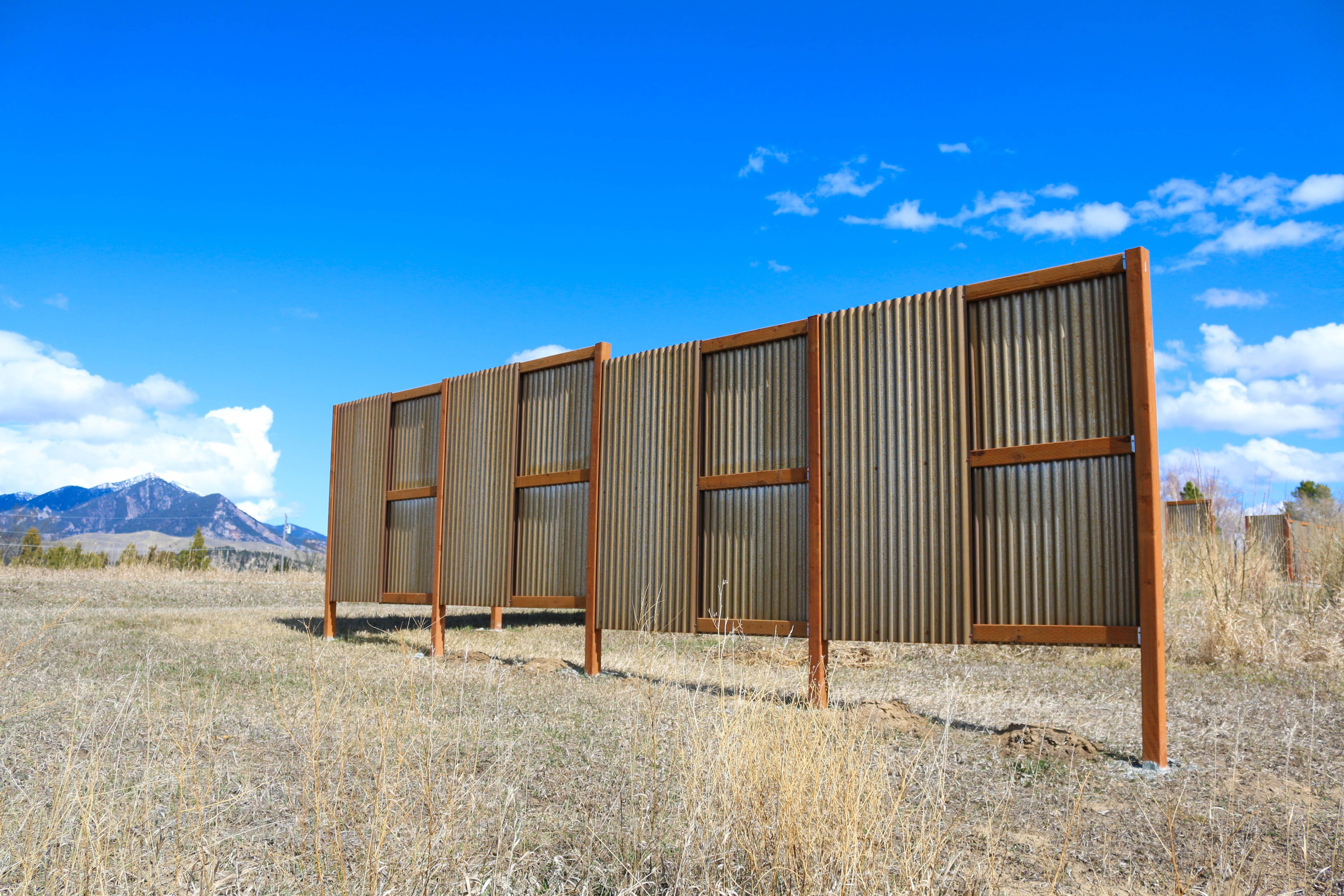 Rusted Corrugated Windbreak Fencing