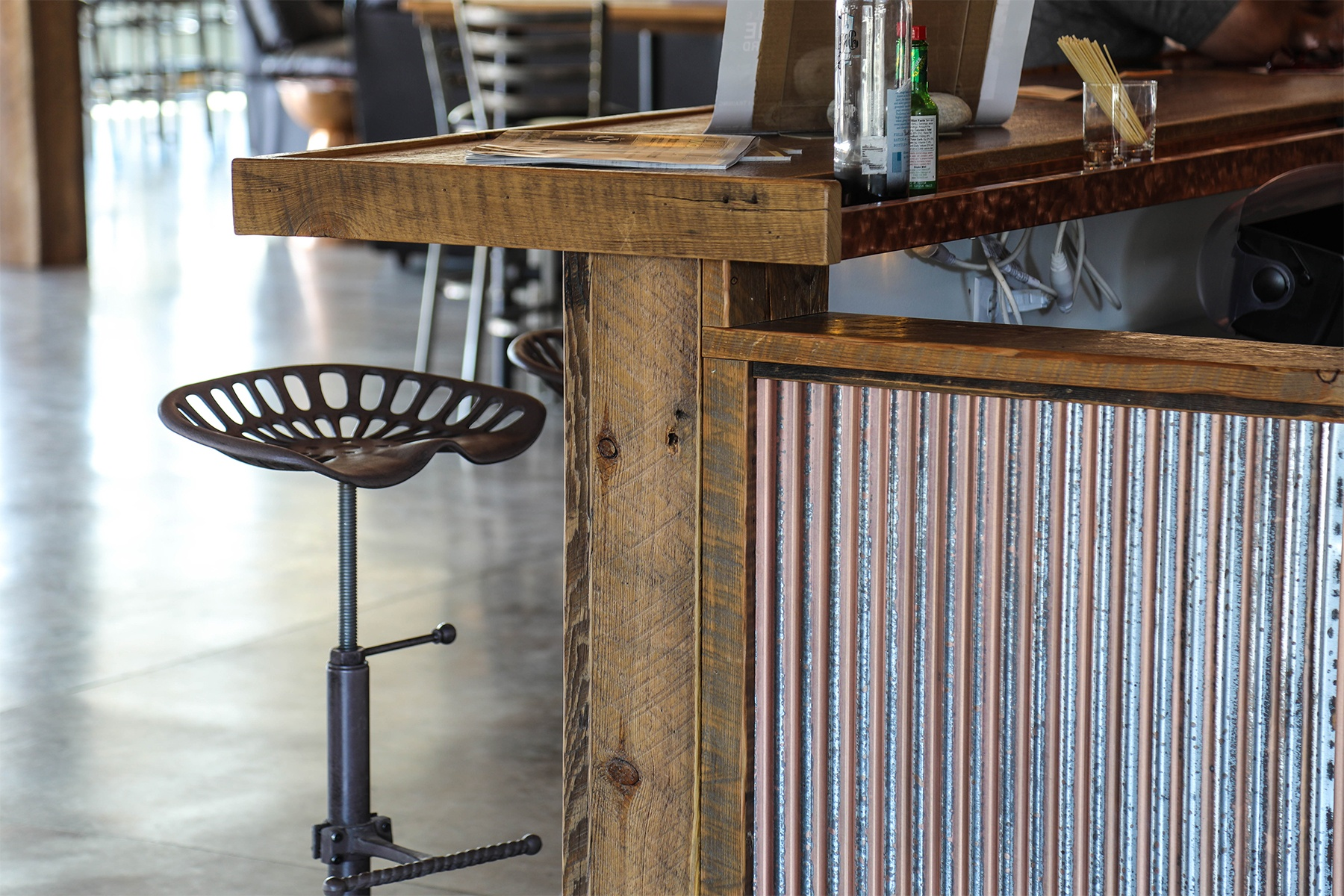 Corrugated Wainscot accent on bar